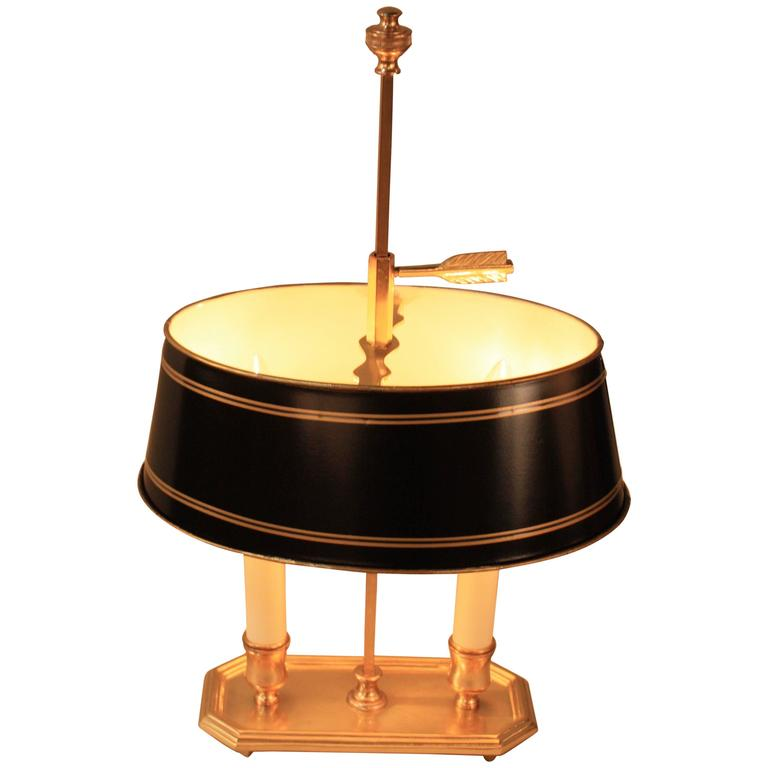 French Bronze Empire Style Bouillotte Table Lamp For Sale