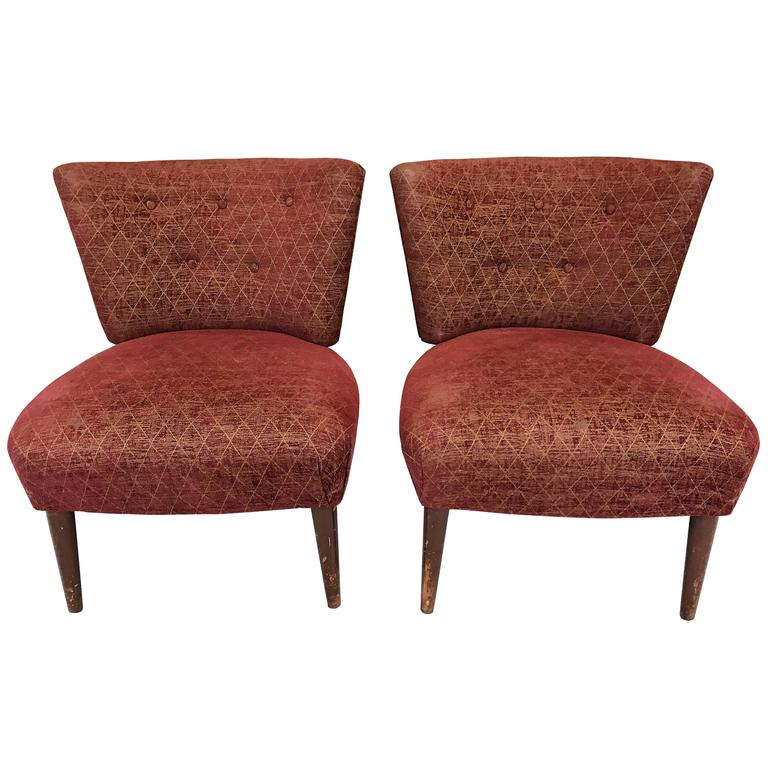 brown slipper chair bamboo dining chairs uk mid century attributed to gilbert rohde for kroehler sale