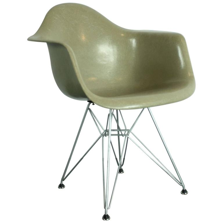 eames arm chair pads kitchen early production vintage herman miller armchair in greige on eiffel base for sale