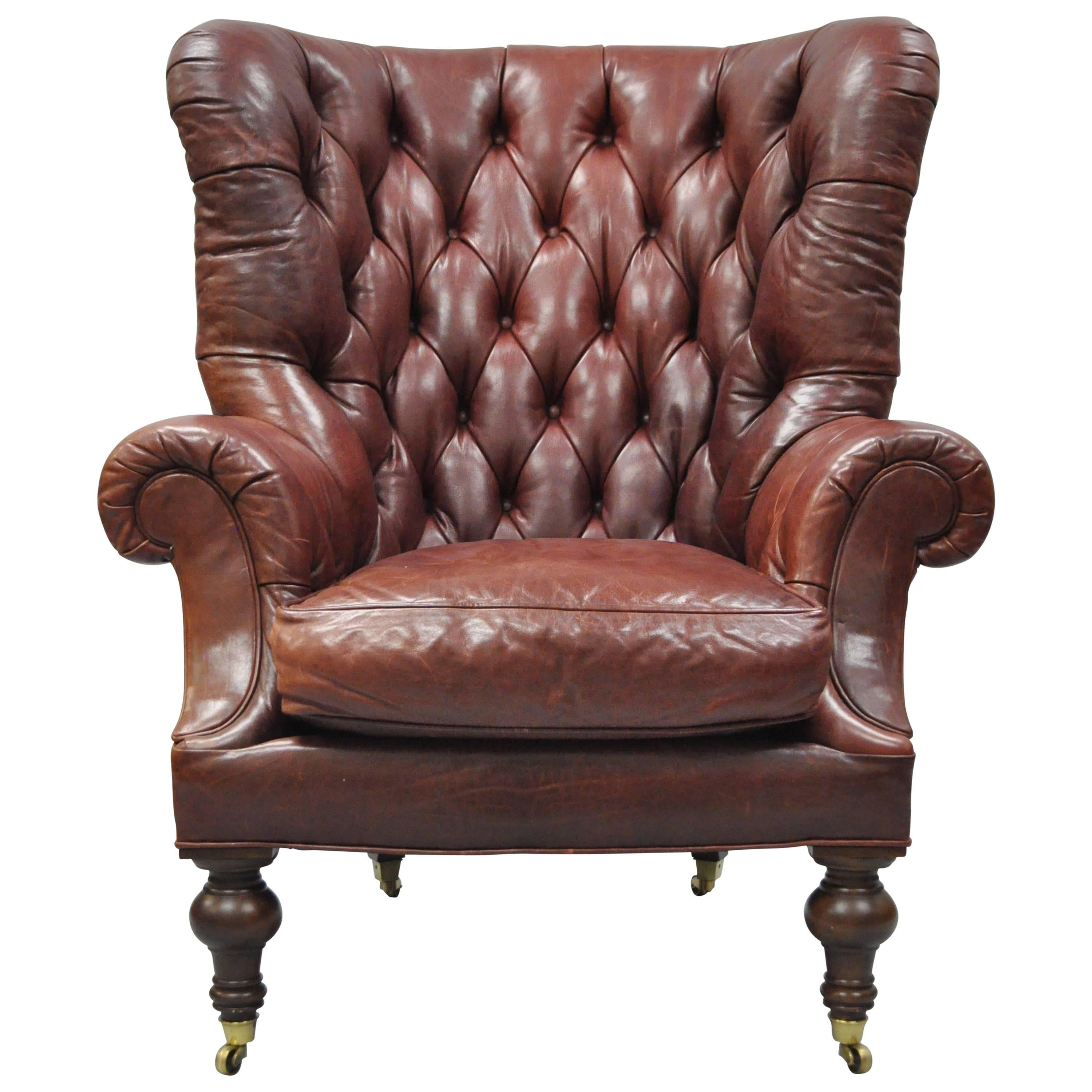 Brown Leather Chairs Oversized Lillian August Brown Tufted Leather English Chesterfield Wing Chair