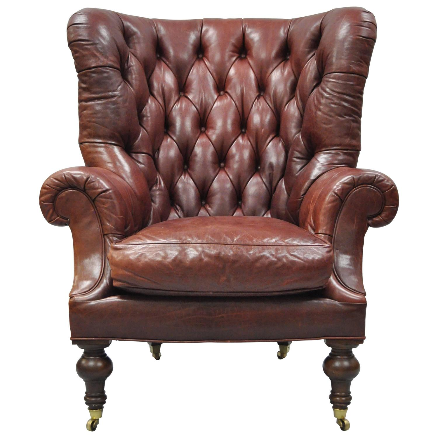 Oversized Wingback Chair Oversized Lillian August Brown Tufted Leather English Chesterfield Wing Chair