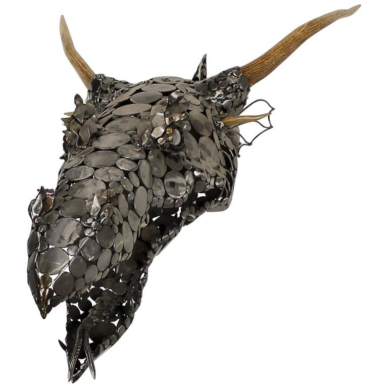 Dragon Head Scrap Metal and Antler 3D Wall Sculpture by