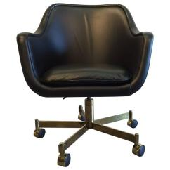 Black Leather Desk Chairs Chair For Bathtub By Ward Bennett And Brass Finish Sale