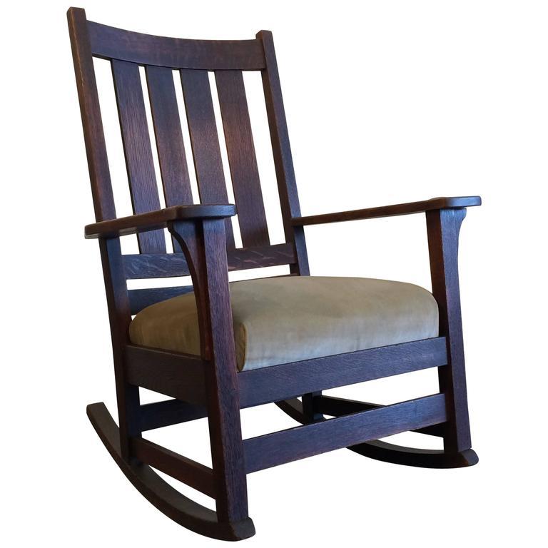 Original LJG Stickley Mission Rocking Chair Oak For Sale