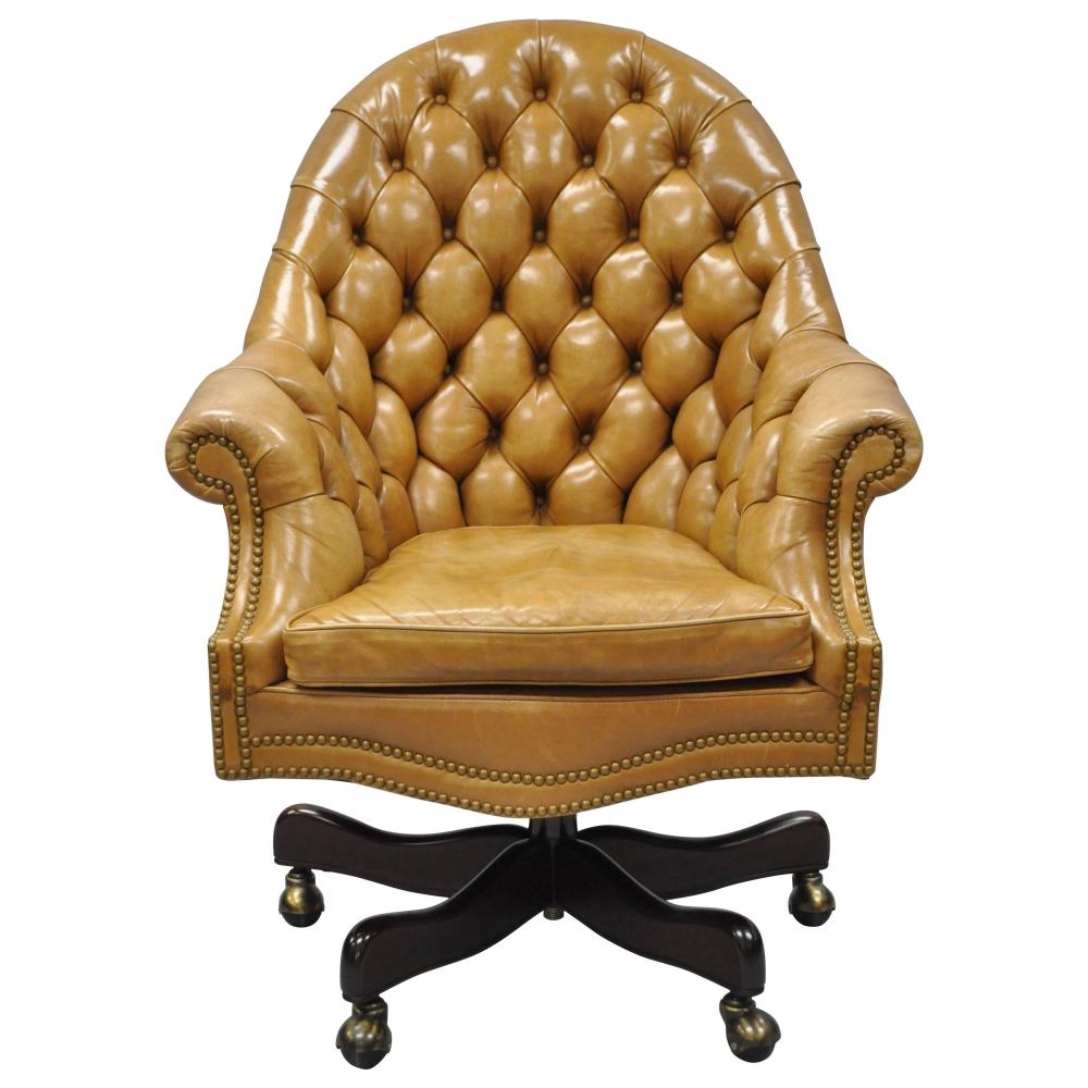 medium resolution of 20th c cabot wrenn tan leather english chesterfield executive office desk chair for sale at 1stdibs