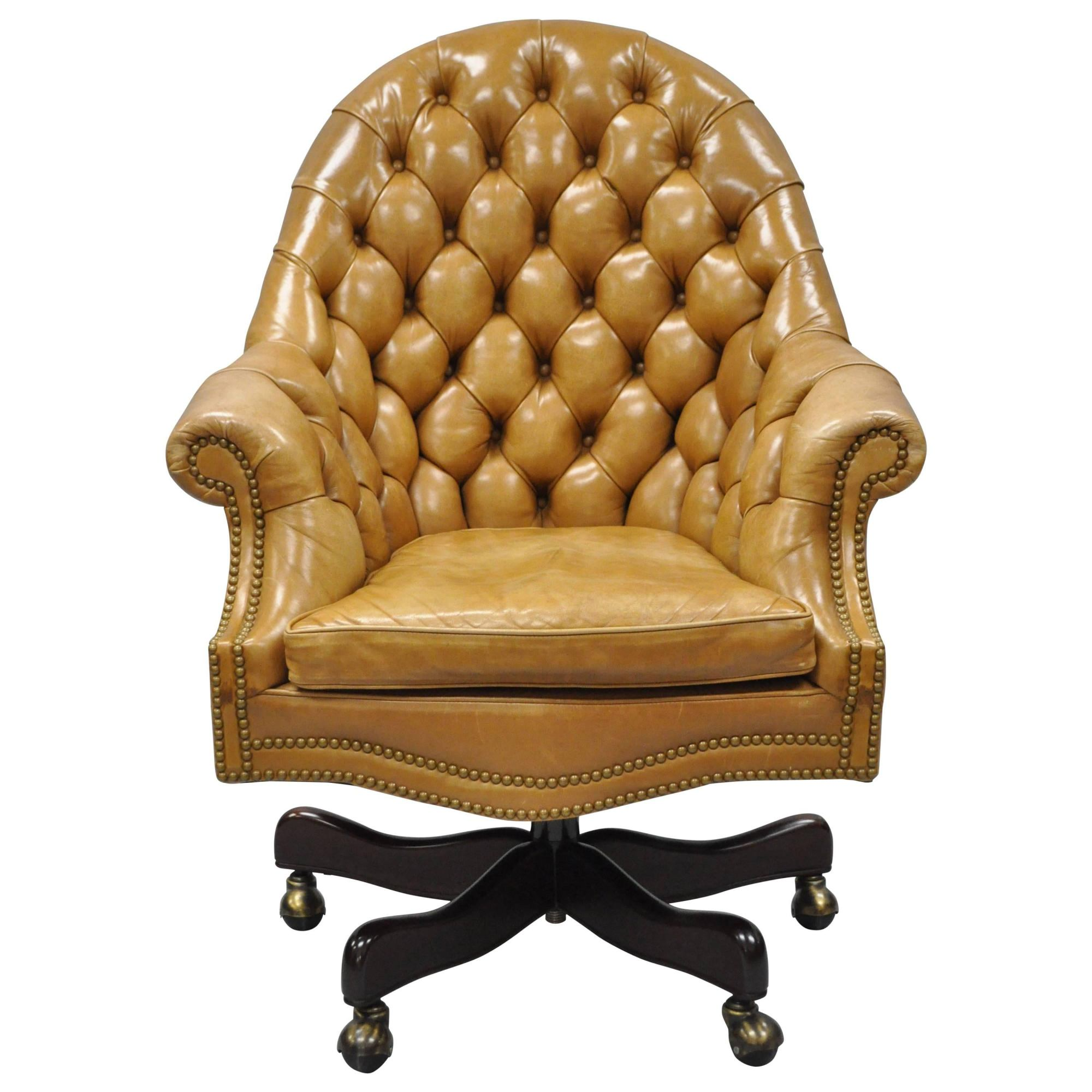 hight resolution of 20th c cabot wrenn tan leather english chesterfield executive office desk chair for sale at 1stdibs