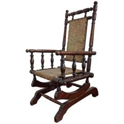 Antique Platform Rocking Chair With Springs Wicker Club Rare For Children American Rocker Child Or Toy Bear Sale At 1stdibs