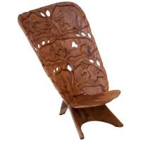 African Duguot Throne Chief Chair Carved Sculpted Animals