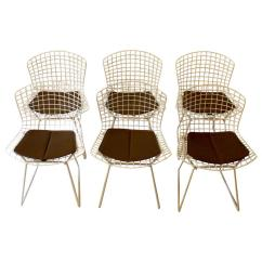 Bertoia Wire Chair Original Cover Hire North East England Set Of Six 1960s Harry Side Chairs For Knoll With Seat Pads At 1stdibs