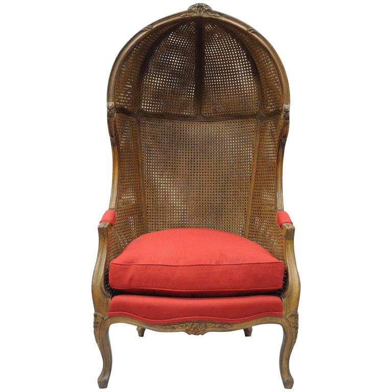 french canopy chair swivel reclining with ottoman vintage country louis xv style double cane italian porter for sale