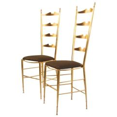 High Backed Chair Seating Office Chairs Pair Of In Contoured Brass Italian Design For Sale