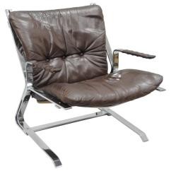 Lounge Chair Leather Cover In Australia Pirate Flatbar Chrome By Elsa And Nordahl Solheim For Rykkin Sale
