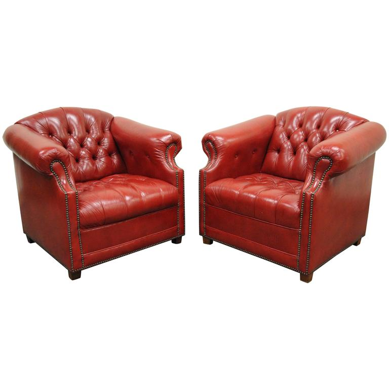 red chairs for sale work out chair pair of leather english chesterfield style button tufted club lounge