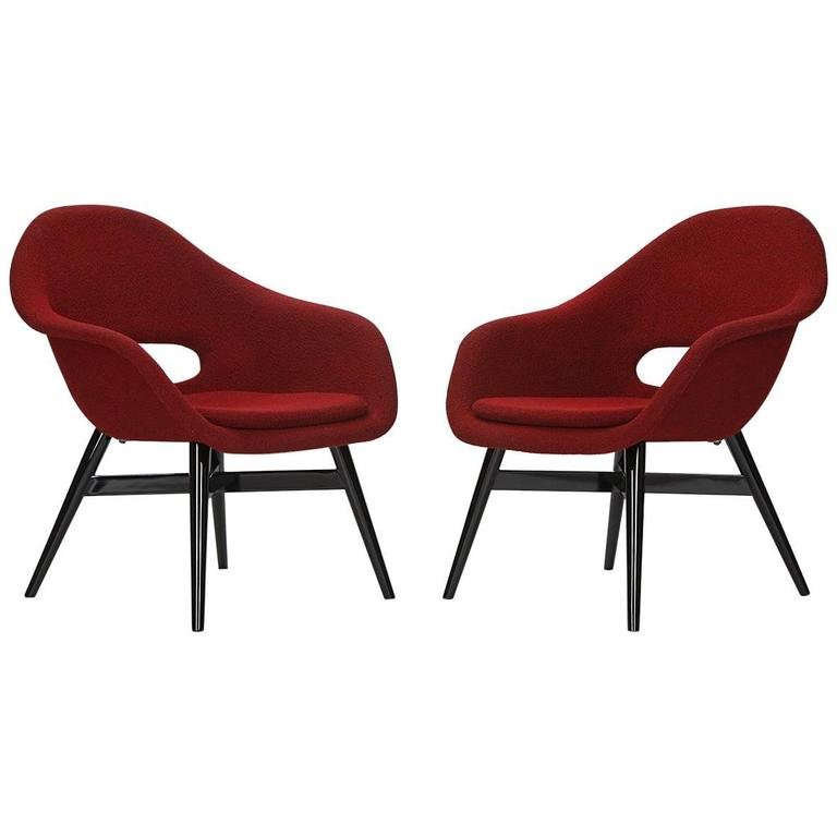 red lounge chair bouncing for babies in india vintage chairs by frantisek jirak tatra 1960s set of two