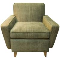 Mid-Century Modern Lounge Chair in Green Velvet at 1stdibs
