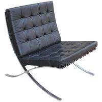 Knoll Inspired Modern Barcelona Chair in Black Leather and ...
