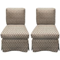 Upholstered Slipper Chair Purple Covers Amazon Pair Of Billy Baldwin Style Quadrille Chairs By Donghia For Sale