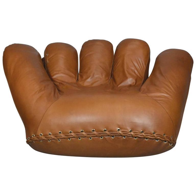 Joe Baseball Glove Lounge Chair in Anilin Leather at 1stdibs