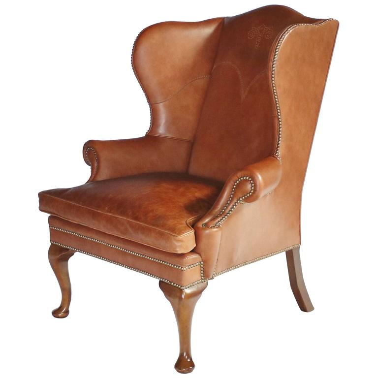 leather wingback chairs remote holder for chair ralph lauren at 1stdibs sale