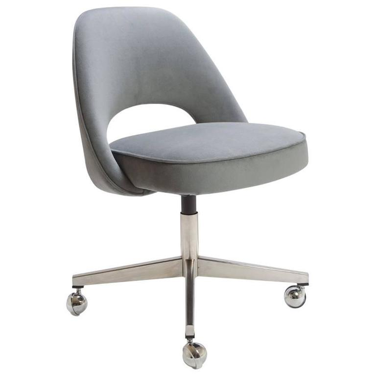armless chair office wedding covers hire north wales saarinen executive in gunmetal moleskin swivel base for sale