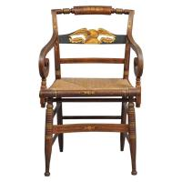 Late Sheraton Fancy Grain-Painted Armchair For Sale at 1stdibs