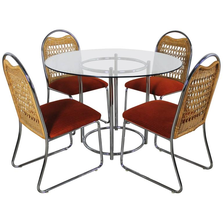 round wicker chair hanging hammock from tree mid century daystrom glass chrome dinette table and four chairs for sale