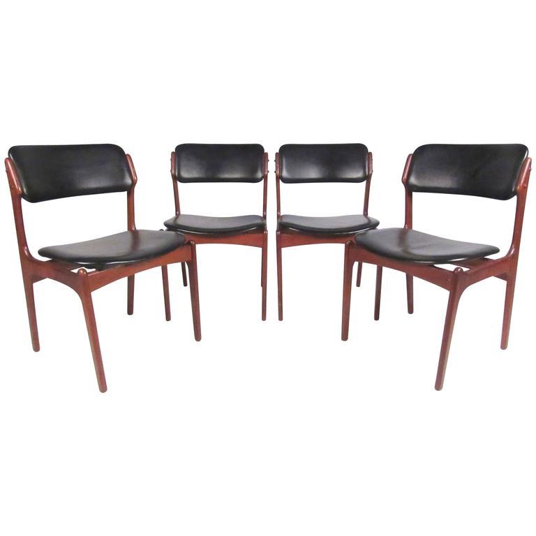 erik buck chairs metal bistro sale set of buch danish teak dining for oddense at