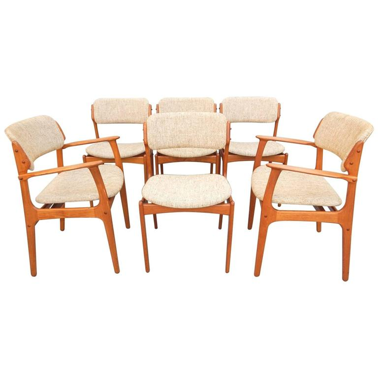 danish modern dining chair coleman camping mid century erik buch set of six for sale