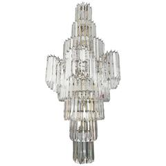 Massive Eight Tier Lucite Camer Style Chandelier By Triarch