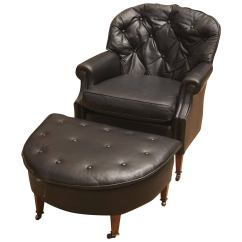 Black Leather Club Chair And Ottoman High Back Chairs Chesterfield For Sale At 1stdibs