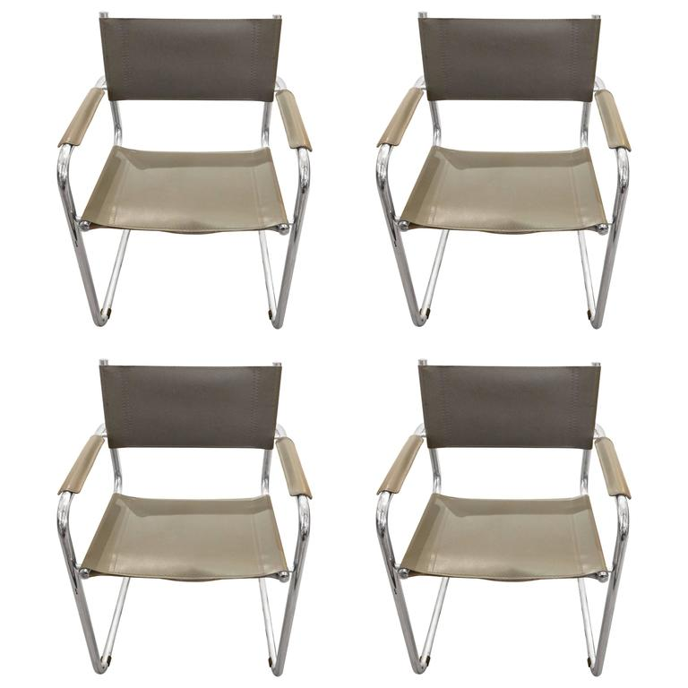 grey modern armchairs chair cover hire mornington peninsula set of four mid century leather and chrome dining for sale