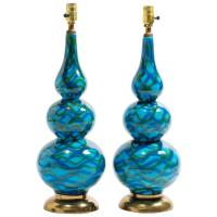 Pair of Ceramic Gourd Shaped Table Lamps at 1stdibs