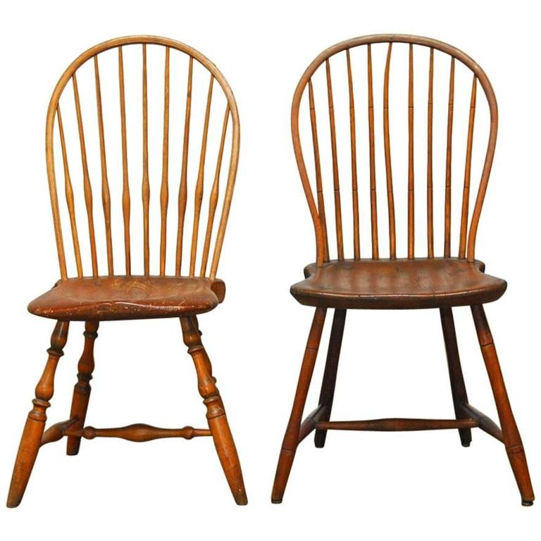 Assembled Pair of American BowBack Windsor Chairs For