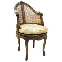 French Country Louis XV Style Swivel Vanity Chair Cane ...