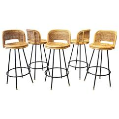 Seng Chicago Chair Best Office After Back Surgery Set Of Pristine Rattan And Wrought Iron Bar Stools By 1950s For