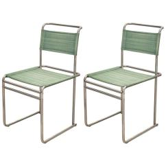 Breuer Chairs For Sale Pressed Back Kitchen Pair Of Marcel Mid Century Modern Bauhaus Metal And Fabirc B5