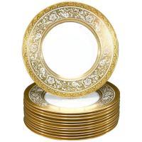 Set of 12 Minton Gold Rimmed Porcelain Ball Dinner Plates ...