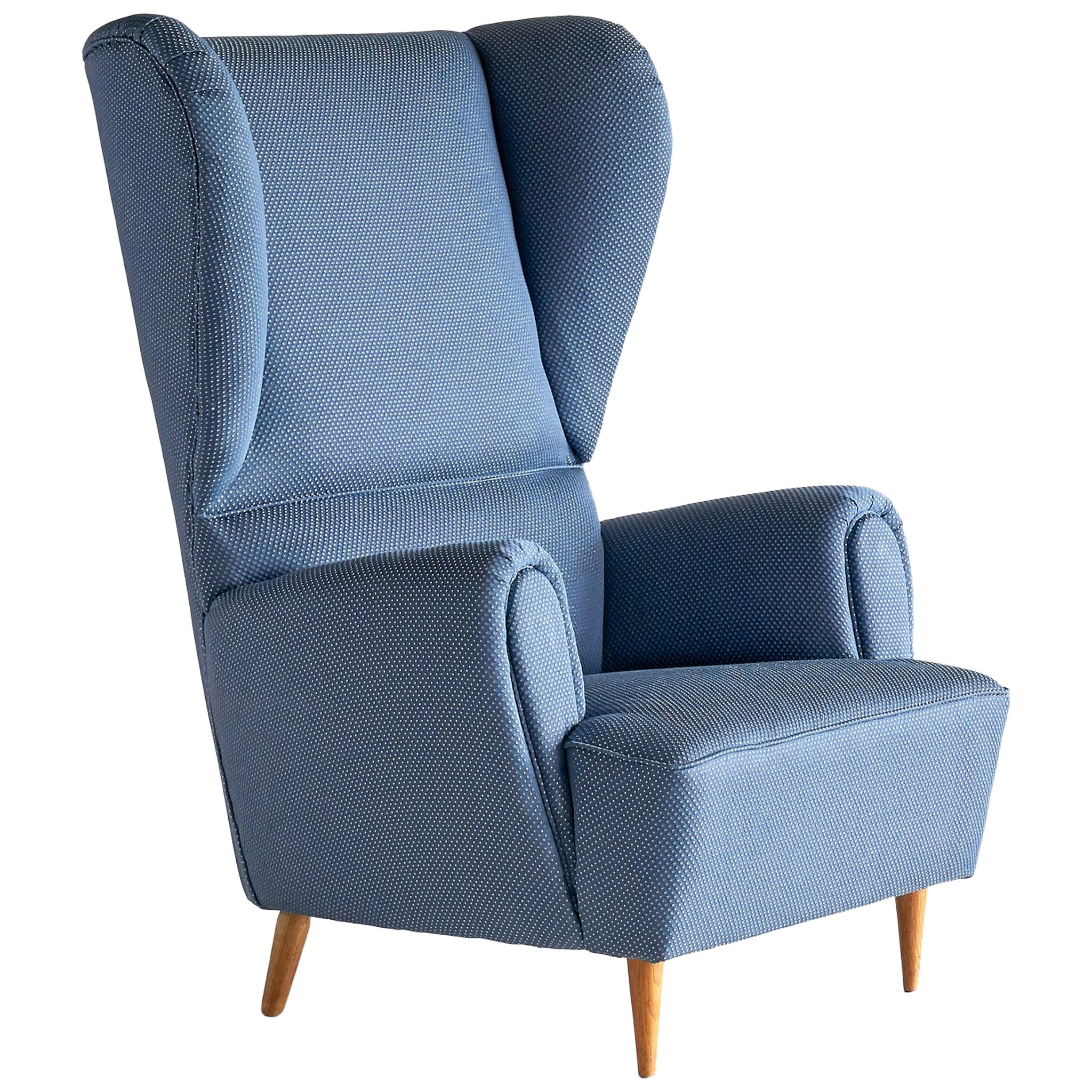 Teal Wingback Chair 1940s Paolo Buffa Wingback Chair Newly Upholstered In Rubelli Fabric