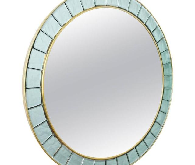 Large Round Mirror Style Of Cristal Arte For Sale