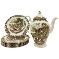 "English Ironstone Dinnerware Set of Nine, ""French"