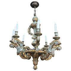 Antique Polychrome Hand Carved Painted Wood Chandelier