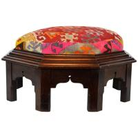 Upholstered Oriental Style Octagonal Ottoman with Colorful ...