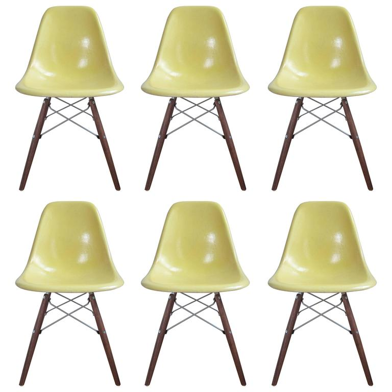 yellow chairs for sale traditional dining six lemon herman miller eames dsw at