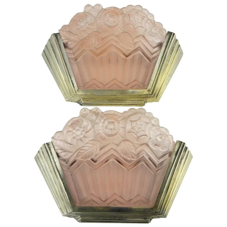 Art Deco Noverdy Wall Sconces with Pink Molded Glass For