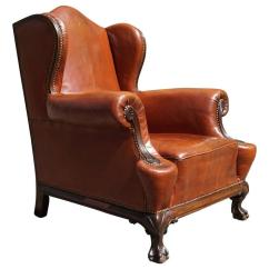 Leather Wingback Chairs Patio Furniture Antique Chippendale Style Chair With Hand Carved Claw Feet For Sale