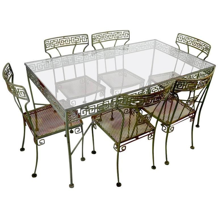 seven piece meadowcraft greek key patio set