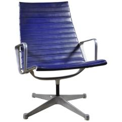 Eames Aluminum Chair Grey Leather Swivel Recliner Blue Group Lounge By Herman Miller For Sale