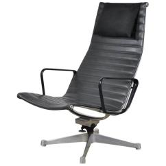 Eames Aluminum Chair Handicap Beach Black Leather Group Lounge For Sale At 1stdibs