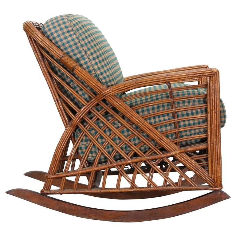 wicker rocking chairs baby chair cramer art deco stick reed rattan 1930s at 1stdibs for sale