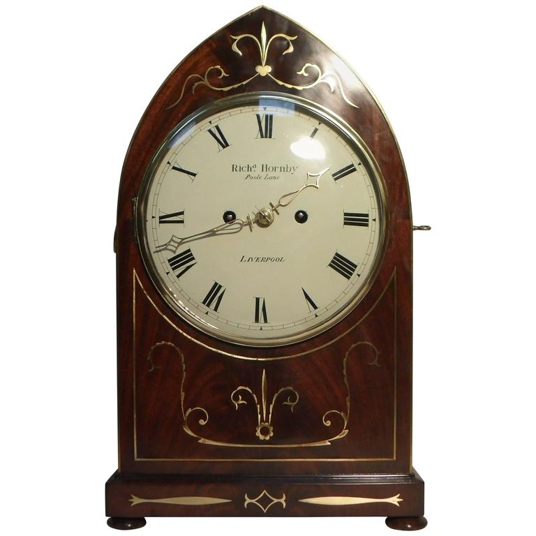 English William IV Mahogany And Brass Inlaid Bracket Clock